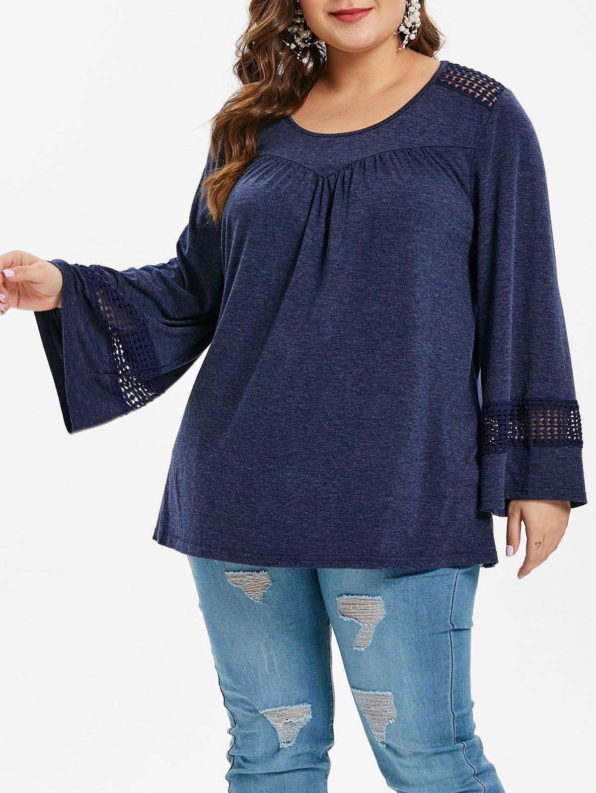 Plus Size Long Sleeve Lace Crochet T-Shirt