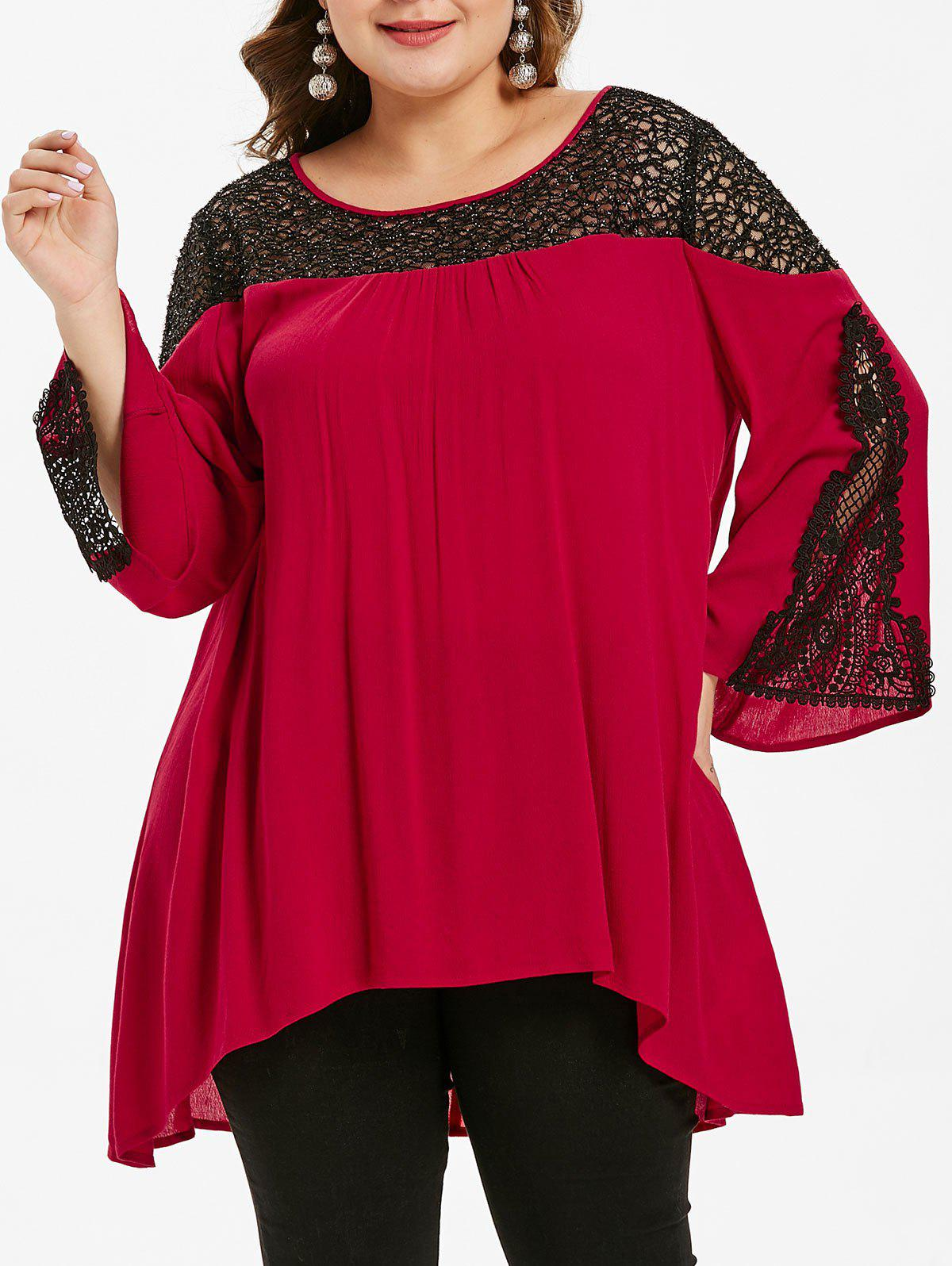 High Low Lace Insert Plus Size Blouse - RED WINE 1X
