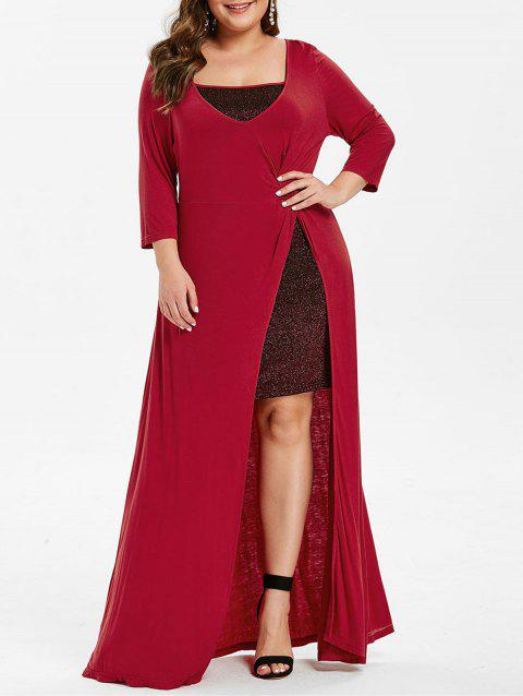 Plus Size High Slit Maxi Dress - RED WINE 3X