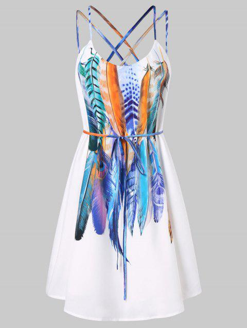 Feathers Printed Double Straps Dress - WHITE 2XL