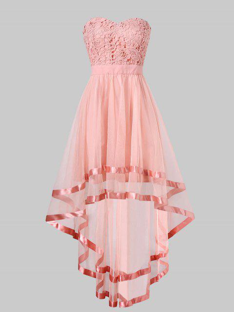 Strapless High Low Maxi Evening Dress - PINK M