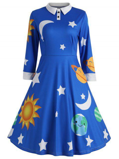 Sun and Moon Print Flare Vintage Dress - BLUE L