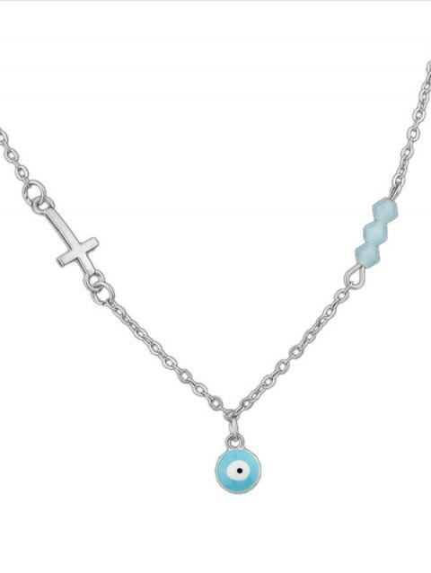 Cross Shape Link Chain Necklace - SILVER