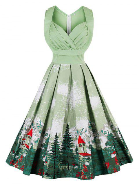 Vintage Forest Print Ruched Pin Up Dress - PISTACHIO S