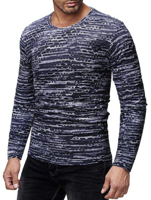 Round Neck Long Sleeves Patchworks T-shirt - MIST BLUE XL