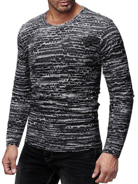 Round Neck Long Sleeves Patchworks T-shirt - GRAY L