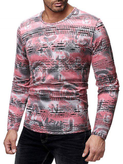 Long Sleeves Letters Print Patchworks Slim Fit T-shirt - ROSE XL