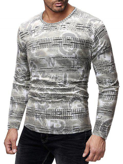 Long Sleeves Letters Print Patchworks Slim Fit T-shirt - GRAY GOOSE L