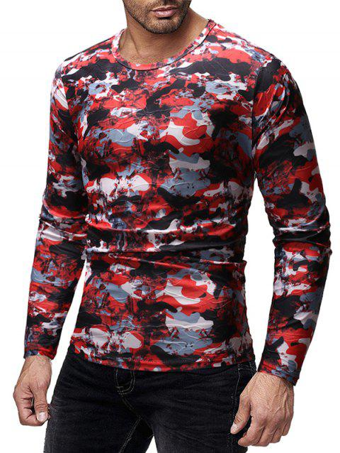 Camouflage Print Slim Fit Long Sleeves T-shirt - RED WINE XL