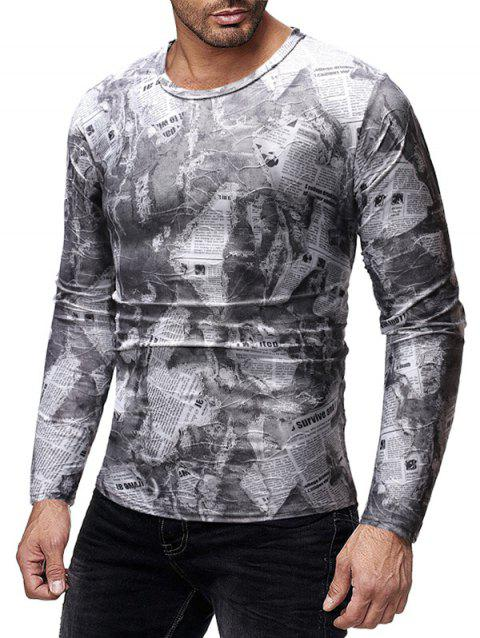 Ripped Newspaper Print Long Sleeves T-shirt - multicolor A M