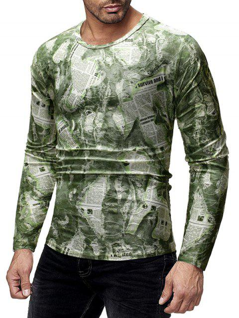 Ripped Newspaper Print Long Sleeves T-shirt - multicolor L