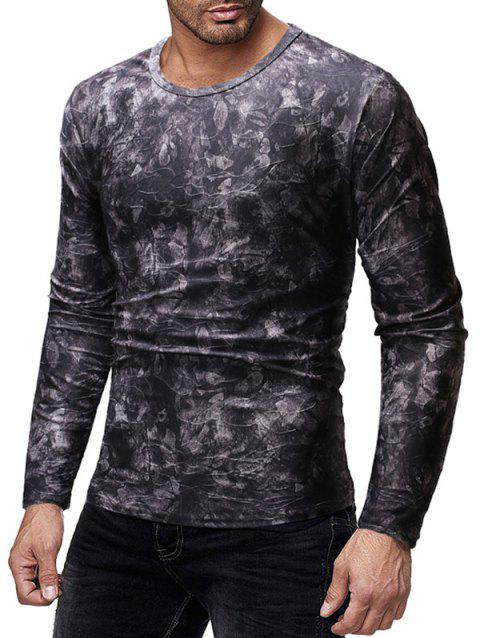 Long Sleeves Floral Print Slim Fit Casual T-shirt - CARBON GRAY M