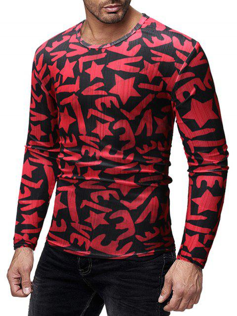 Slim Fit Letters Star Print Long Sleeves T-shirt - CHERRY RED L