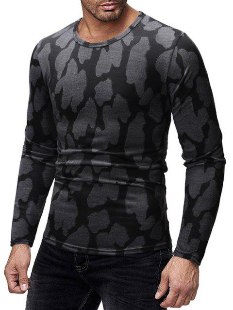 Long Sleeves Patchworks Round Neck Casual T-shirt - CLOUDY GRAY M