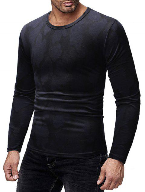 Long Sleeves Patchworks Round Neck Casual T-shirt - BLACK XL
