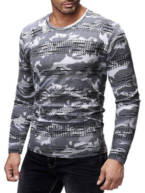 Camouflage Printed Patchworks Slim Fit T-shirt - multicolor A L