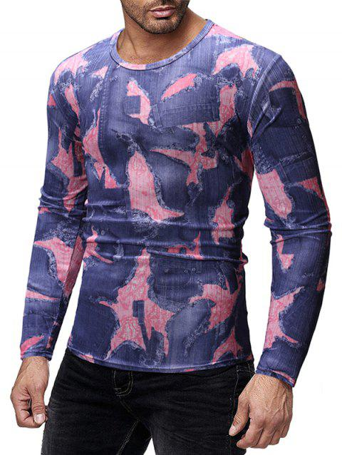 Patchworks Print Long Sleeves Slim Fit T-shirt - multicolor A XL
