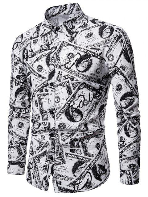 Allover Cash Print Shirt - multicolor 2XL