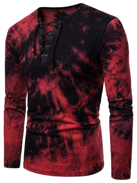 Tie Dye Lace Up Long Sleeve Tee - RED L