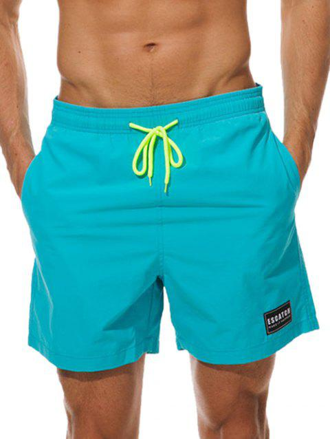 Letter Patched Drawstring Beach Shorts - DEEP SKY BLUE 3XL