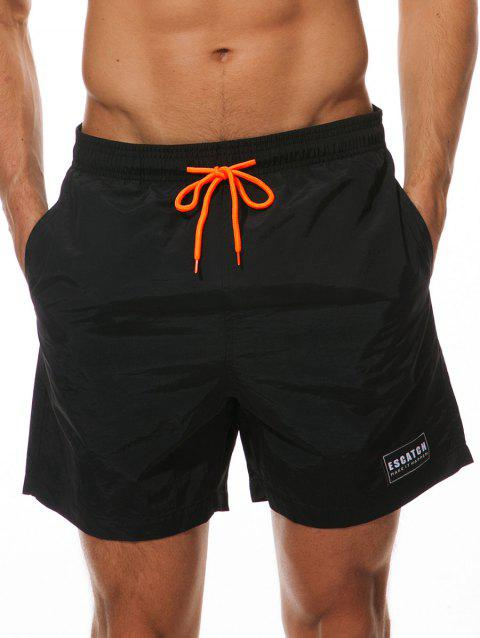 Letter Patched Drawstring Beach Shorts - BLACK M