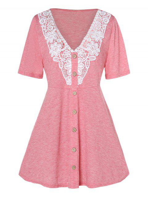 Plus Size V Neck Buttons Lace Insert T-shirt - PIG PINK 3X