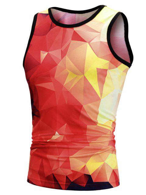 Contrast Geometric Print Fitted Tank Top - RED M