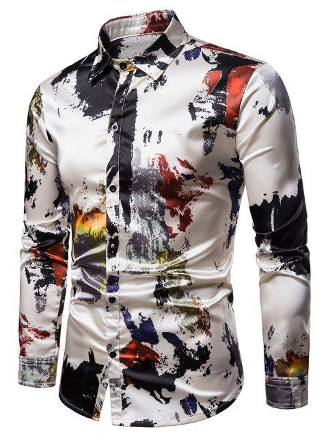 Paint Splatter Print Silky Shirt - multicolor XL