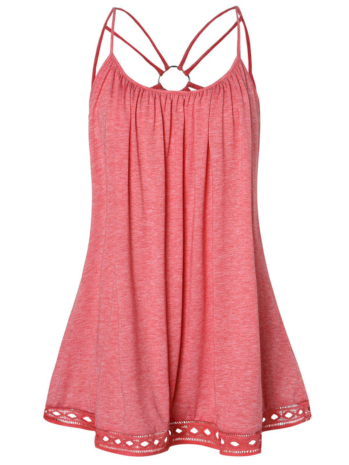Plus Size O Ring Strappy Tank Top - LIGHT CORAL 5X