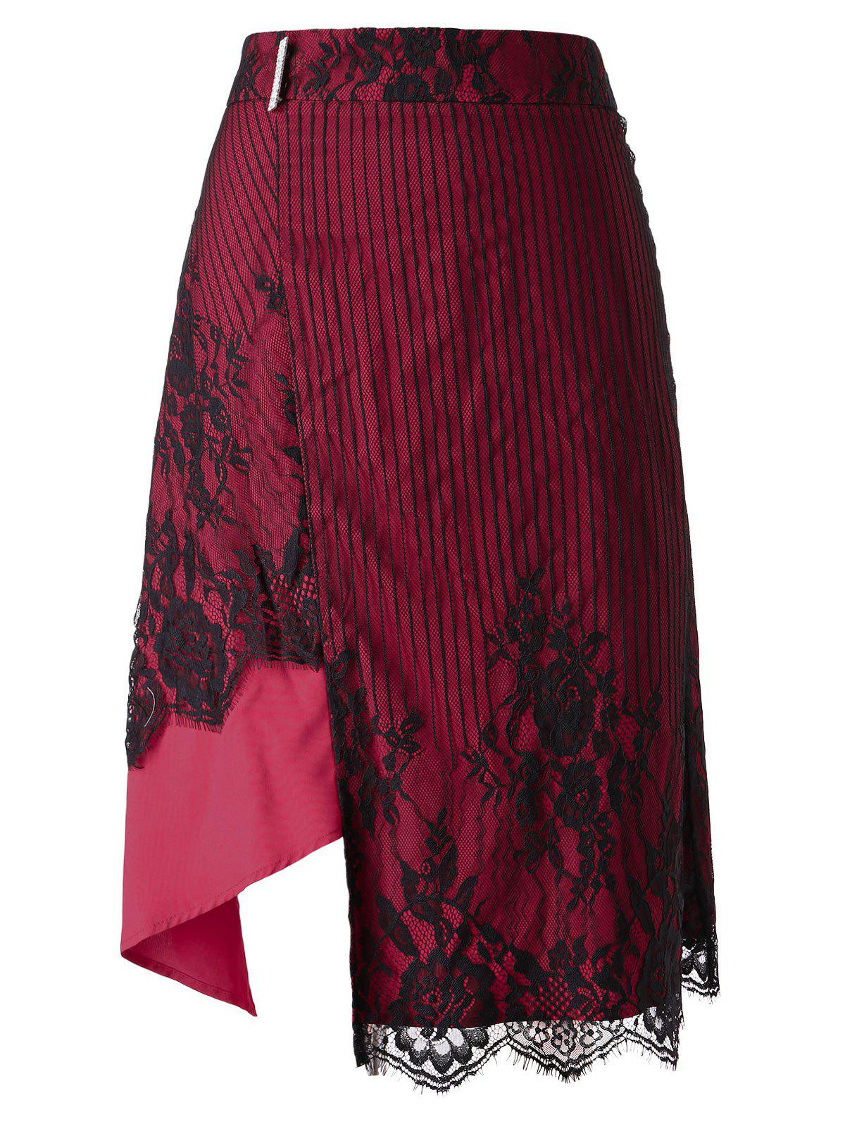 Plus Size Lace Overlay Midi Asymmetrical Skirt - ROSE RED L