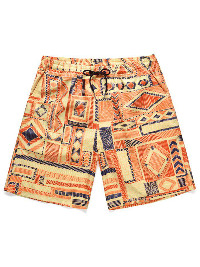 Low Waist Geometric Print Beach Shorts - ORANGE 2XL