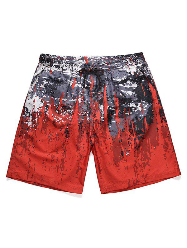 Splatter Paint Low Waist Beach Shorts - RED M
