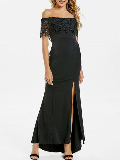 Floral Panel Side Slit Maxi Dress - BLACK XL