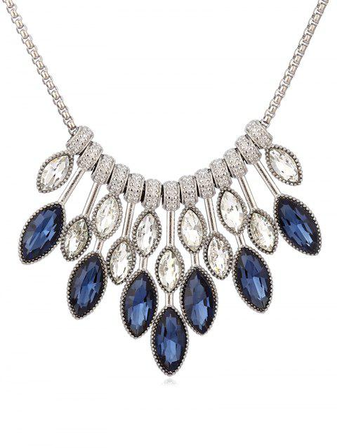 Teardrop Rhinestone Necklace - PEACOCK BLUE