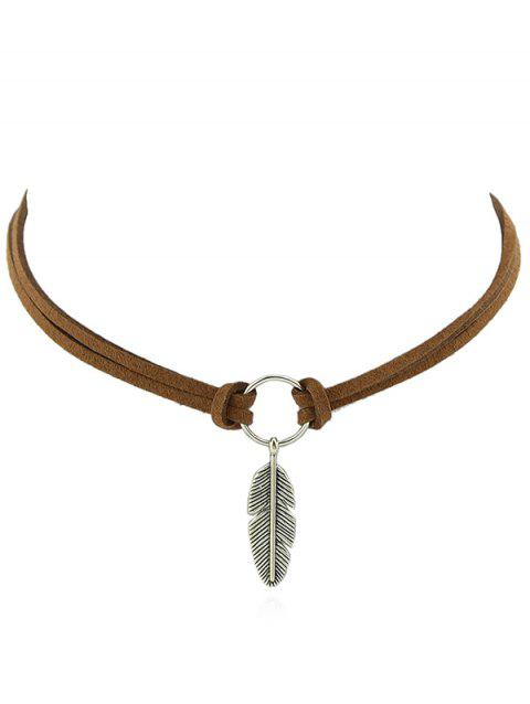 Leather Chain Feather Shape Pendant Necklace - BROWN