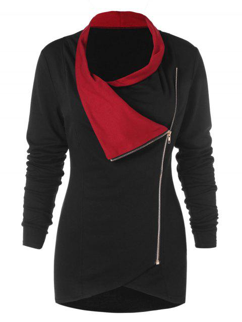 Zipper Embellished Long Sleeve Asymmetrical T-shirt - BLACK 2XL