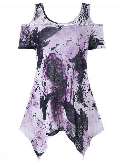 Tie Dye Cold Shoulder Asymmetrical T-shirt - LIGHT PURPLE 2XL