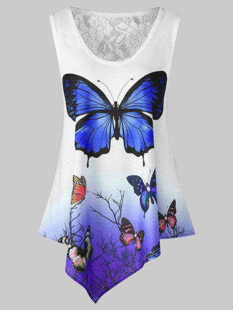 Butterfly Print Ombre Color Swing Tank Top - BLUE VIOLET XL