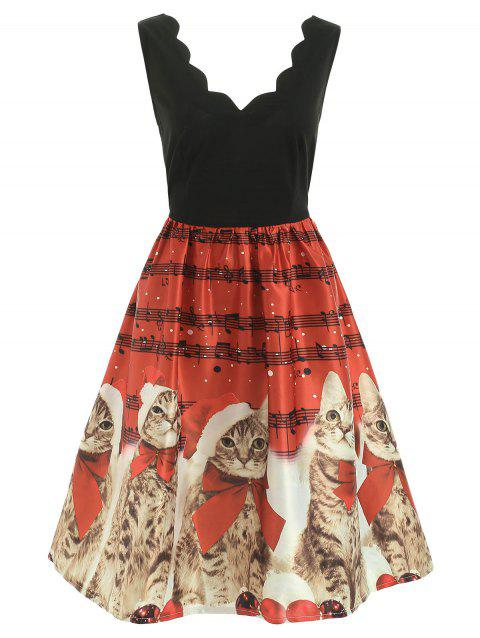 Christmas Cats Musical Notes Print Sleeveless Dress - RED S