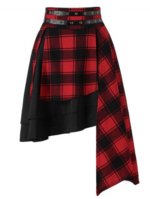 047ee65eb9 41% OFF  2019 Asymmetrical Layered Plaid Skirt In Multicolor