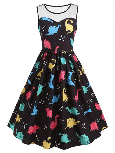 Cartoon Dinosaur Print Vintage Dress - BLACK 2XL