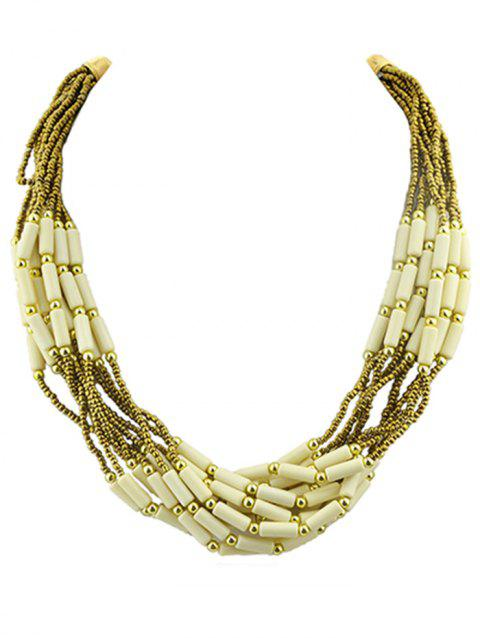 Beads Multi Layered Necklace - BEIGE