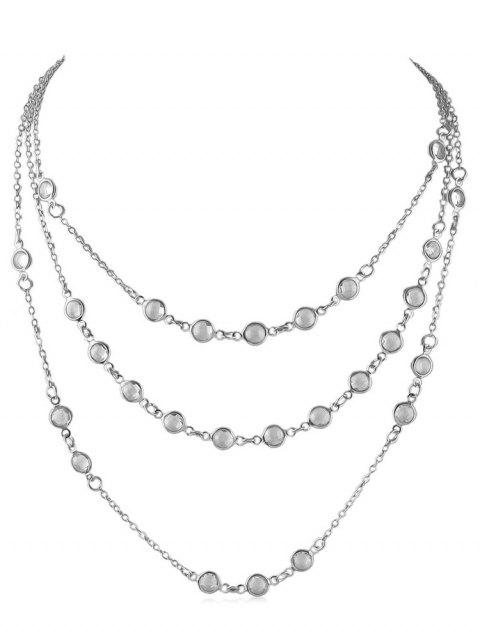 Beads Shape Triple Layered Necklace - SILVER