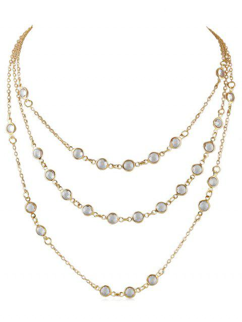 Beads Shape Triple Layered Necklace - GOLD
