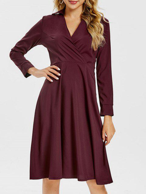 Crossover Knee Length A Line Shirt Dress - MAROON XL