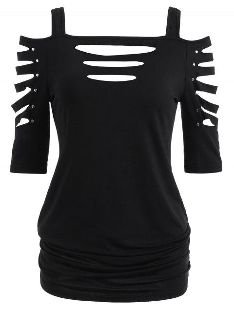 Shoulder Cut Lacerated Sleeve T-shirt - BLACK M