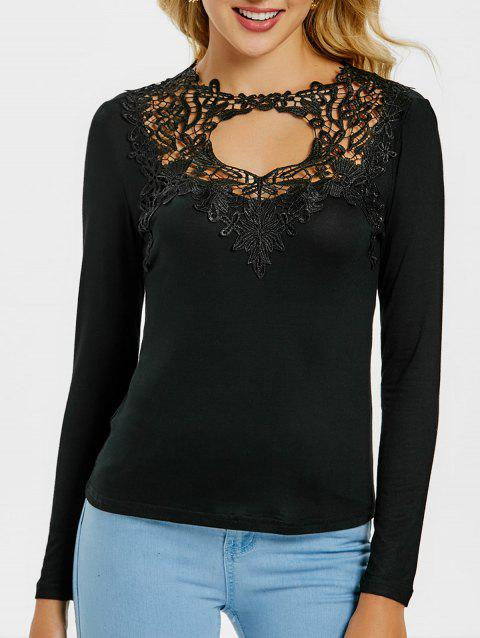 Lace Panel Long Sleeve Bodycon T-shirt - BLACK S