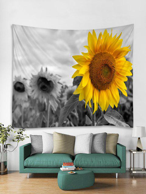 Sunflower Print Tapestry Wall Hanging Decoration - GRAY CLOUD W59 X L51 INCH
