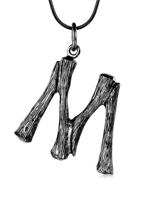 Alloy Bamboo Joint Letter M Pendant Necklace - BLACK