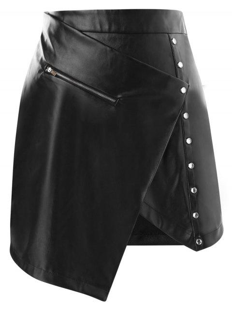 High Rise Faux Leather Asymmetrical Mini Skirt - BLACK M